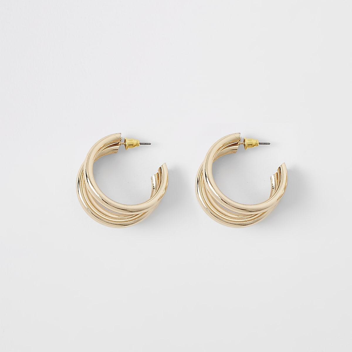 Gold tone triple layered hoop earrings