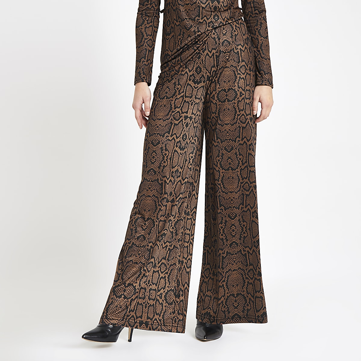 Petite brown snake print wide leg pants