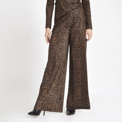 Petite brown snake print wide leg trousers