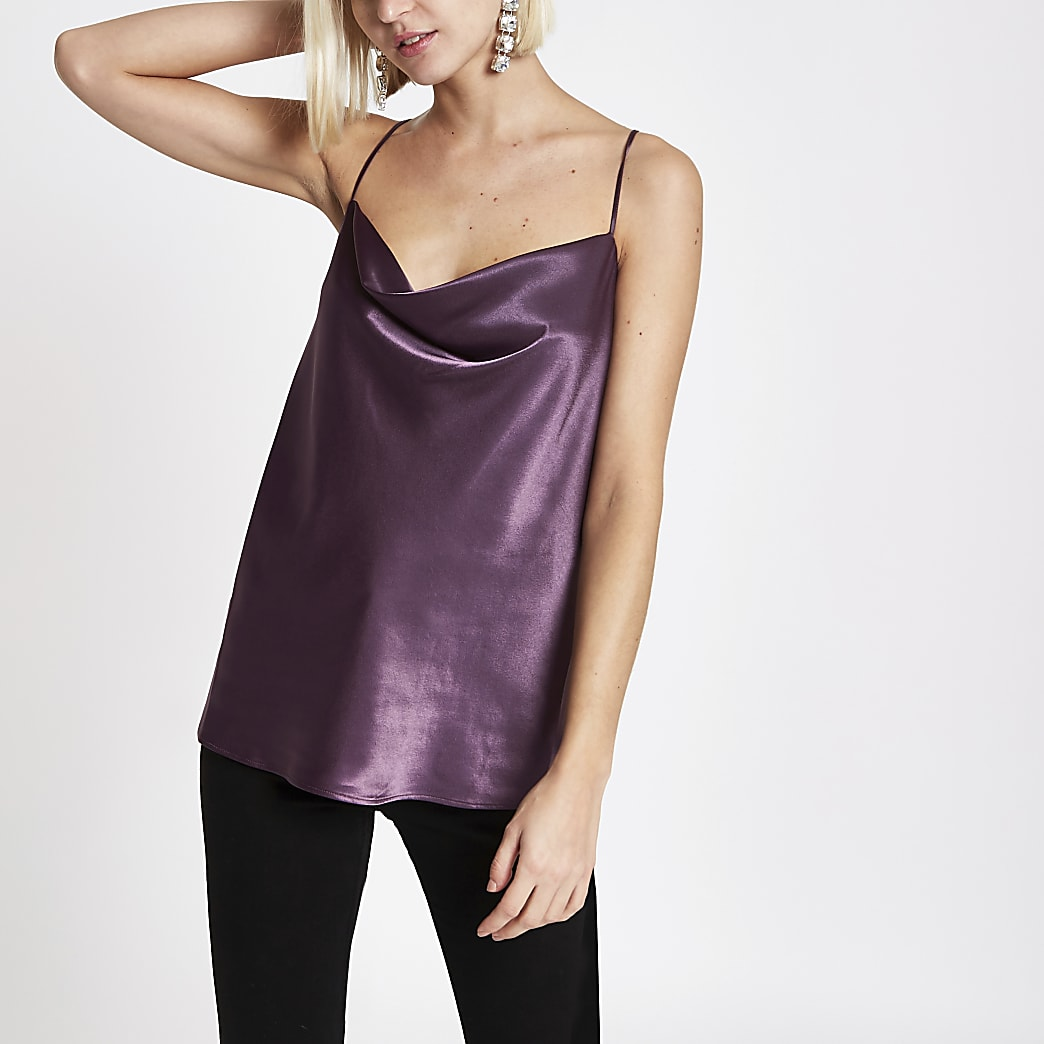 Purple cowl neck cami top