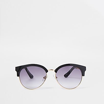 Black gold tone chain trim sunglasses