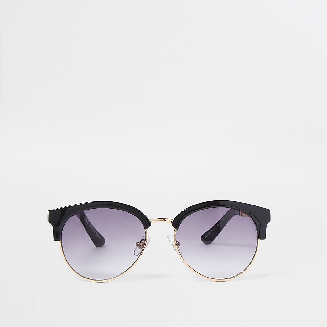 Black gold tone chain trim sunglasses