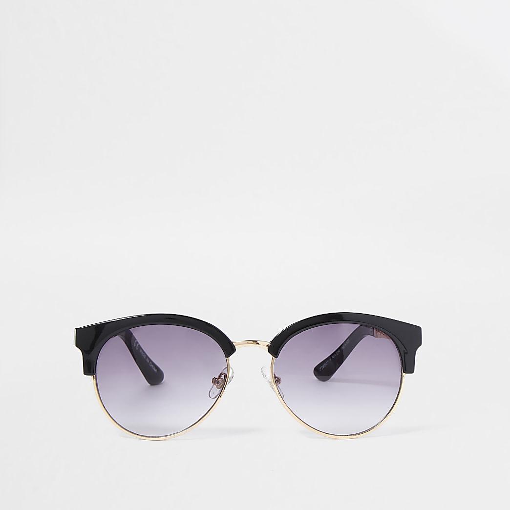 Zwarte zonnebril met goudkleurige accenten