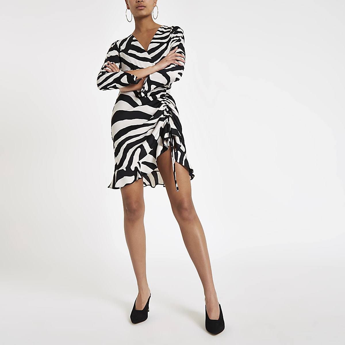 White zebra ruched side tea dress