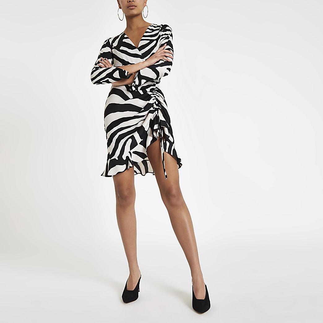 White zebra ruched side tea dress