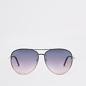 Gold tone purple lens aviator sunglasses