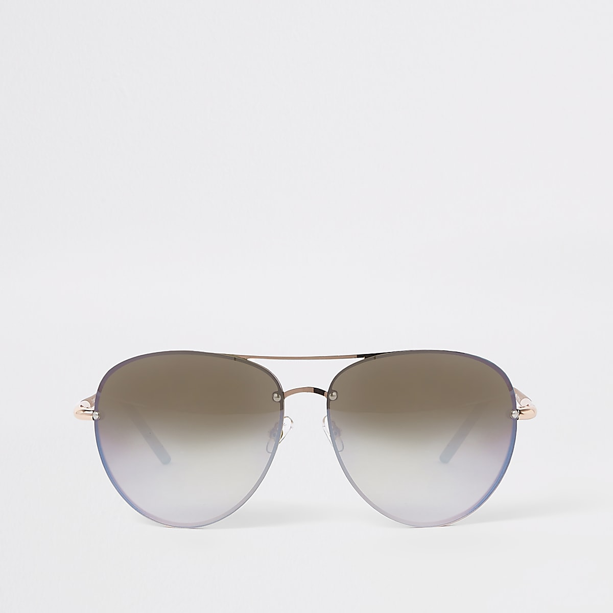 Rose gold tone mirror blue lens sunglasses