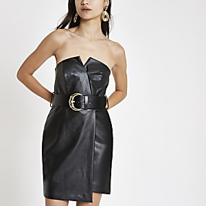 Black bandeau belted bodycon mini dress