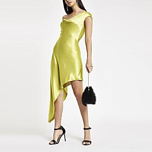 Green diamante strap asymmetric slip dress