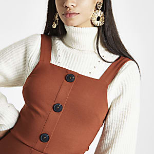 Orange button-up pinafore mini dress