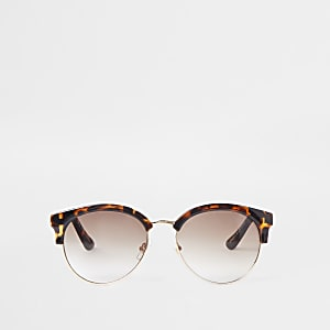 02bbfb56230 Brown tortoiseshell chain trim sunglasses