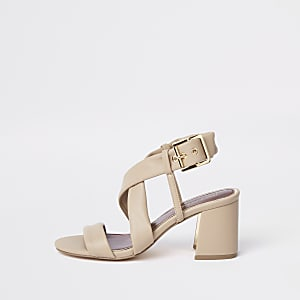 1840574d2d3 Beige wide fit cross strap block heel sandal