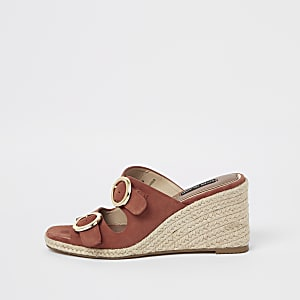 Orange peep toe buckle wegdes
