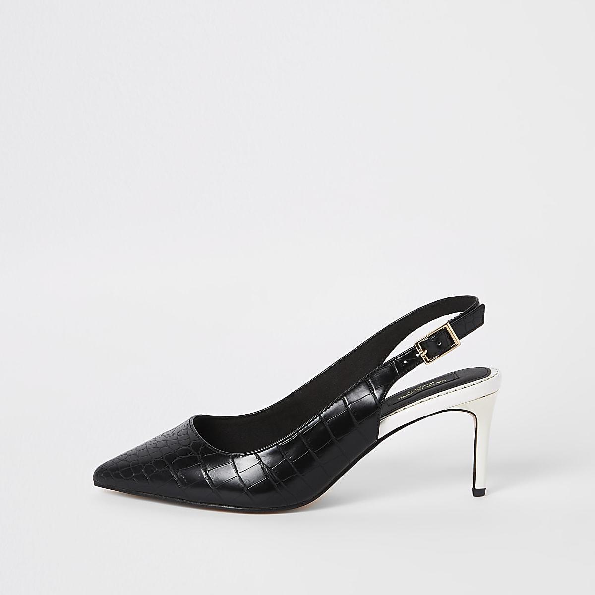 Black croc wide fit slingback court shoes