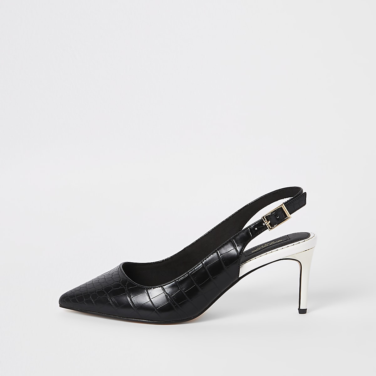 Black croc wide fit slingback pumps