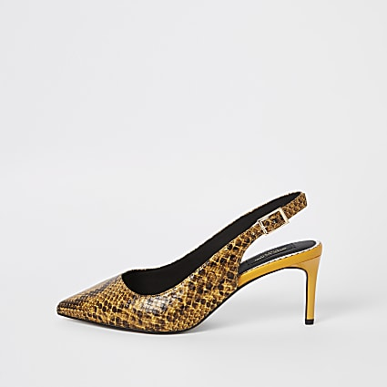 Yellow snake wide fit slingback court shoes