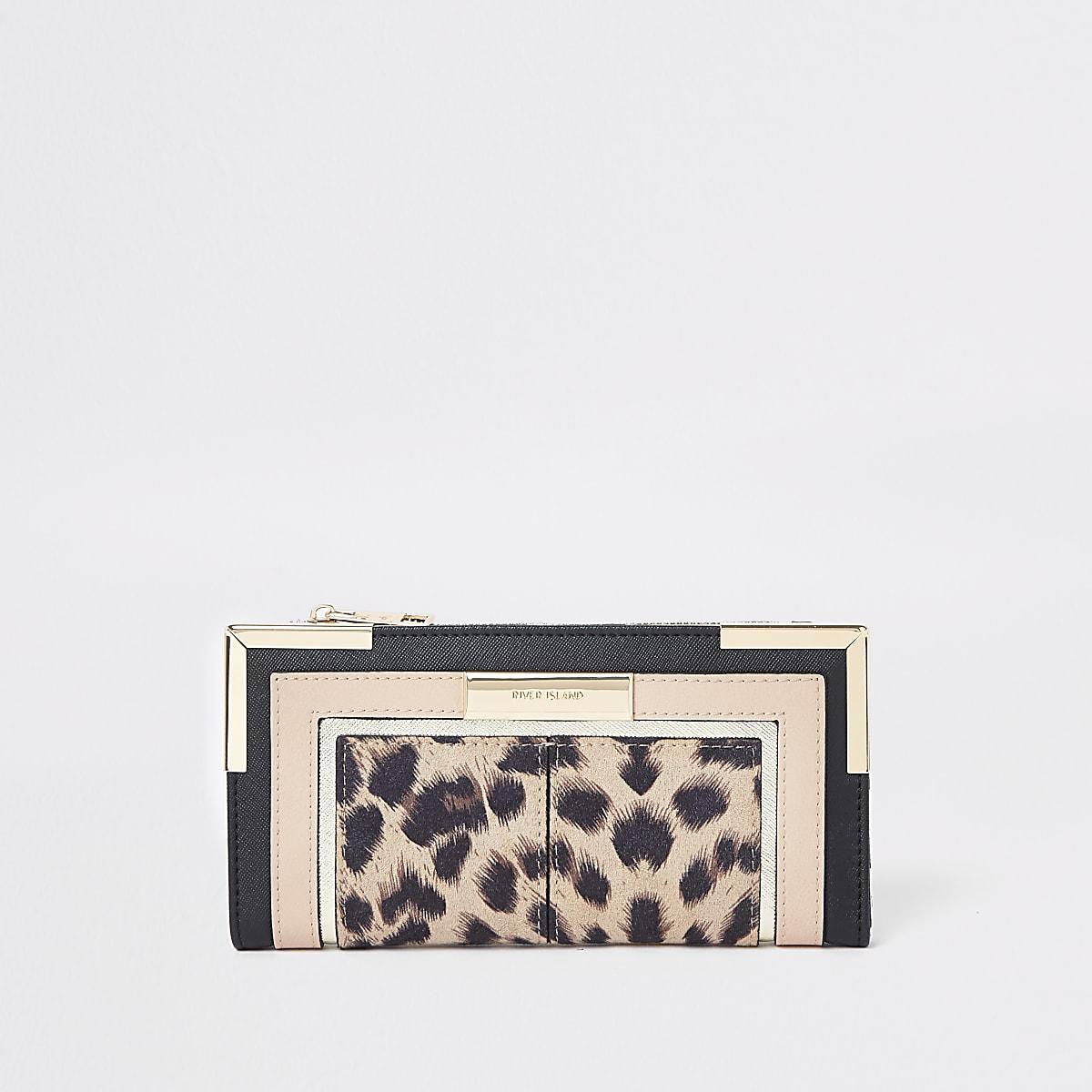 Beige uitvouwbare portemonnee met luipaardprint en uitsnede