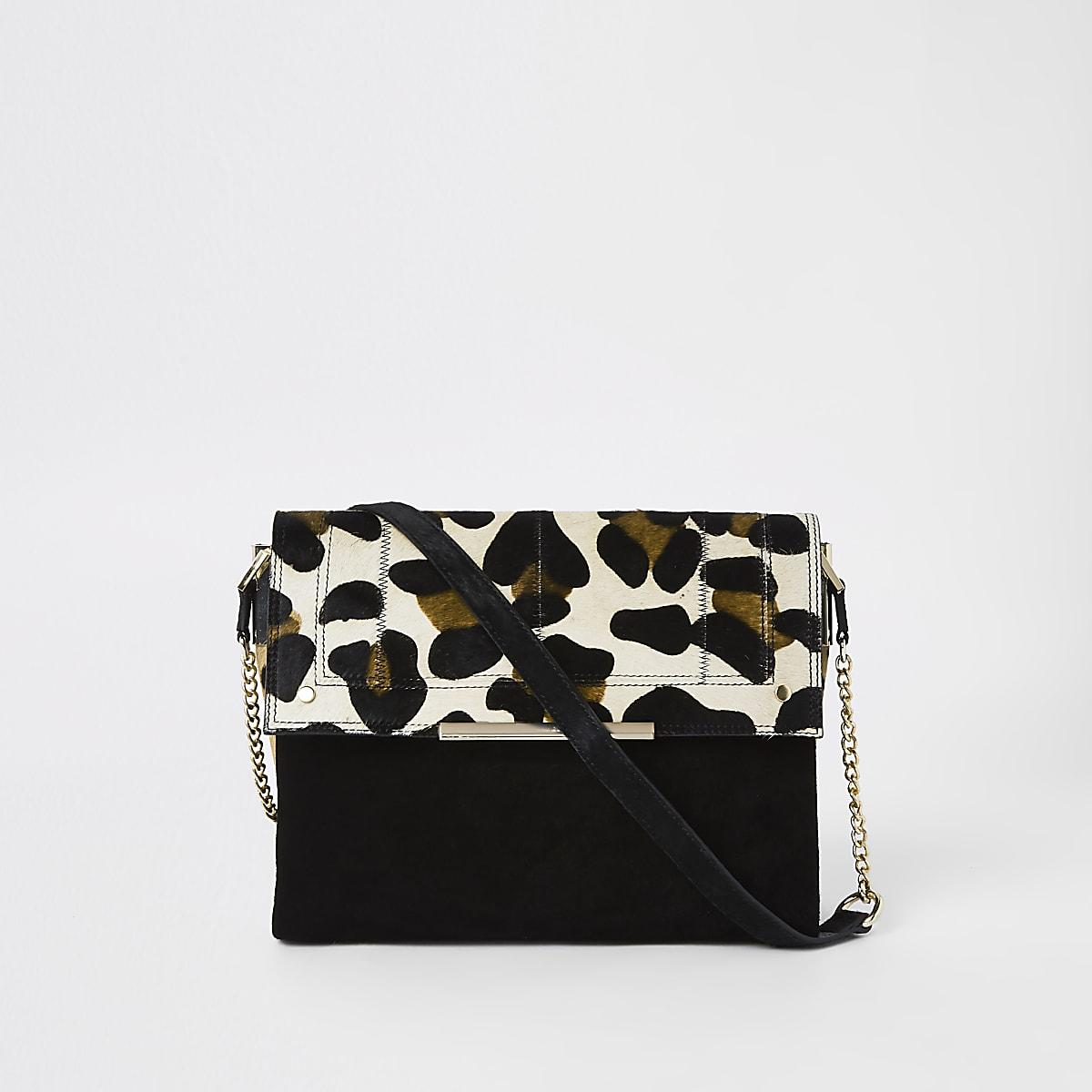 Black suede leather leopard under arm bag
