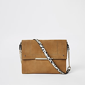 Beige suede leather under arm bag