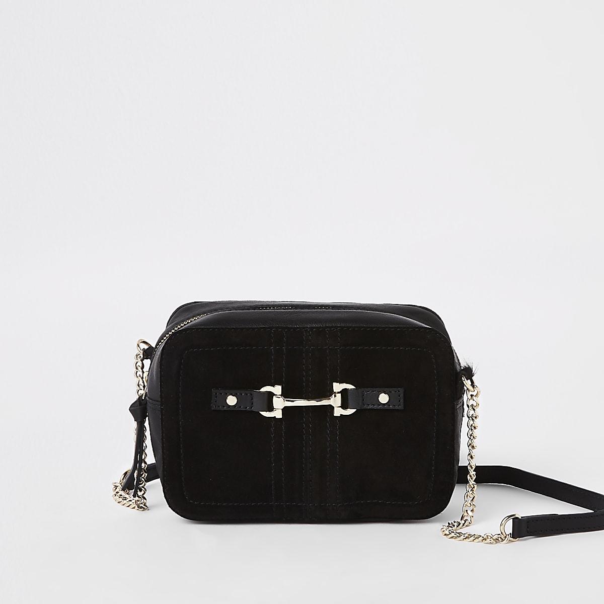 Mini sac à bandoulière en cuir et daim noir