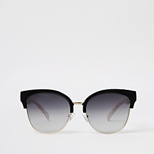 Gold tone black lens oversize sunglasses
