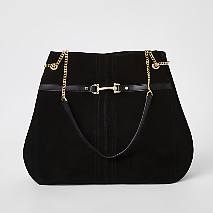 Black suede leather snaffle front slouch bag