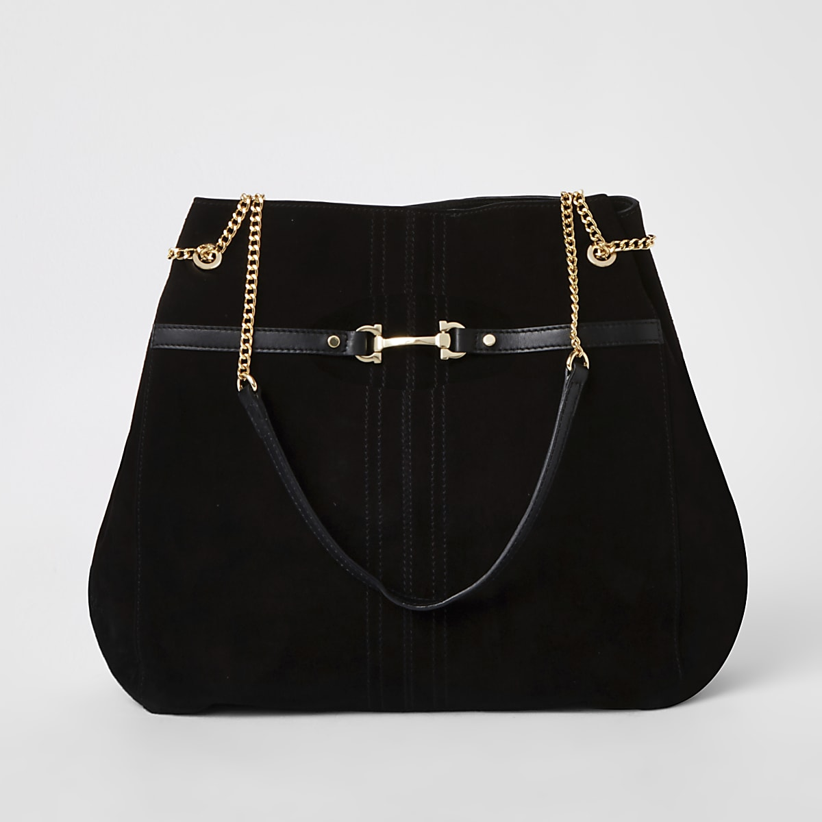 en soldes 40c5a 83053 Black suede leather snaffle front slouch bag