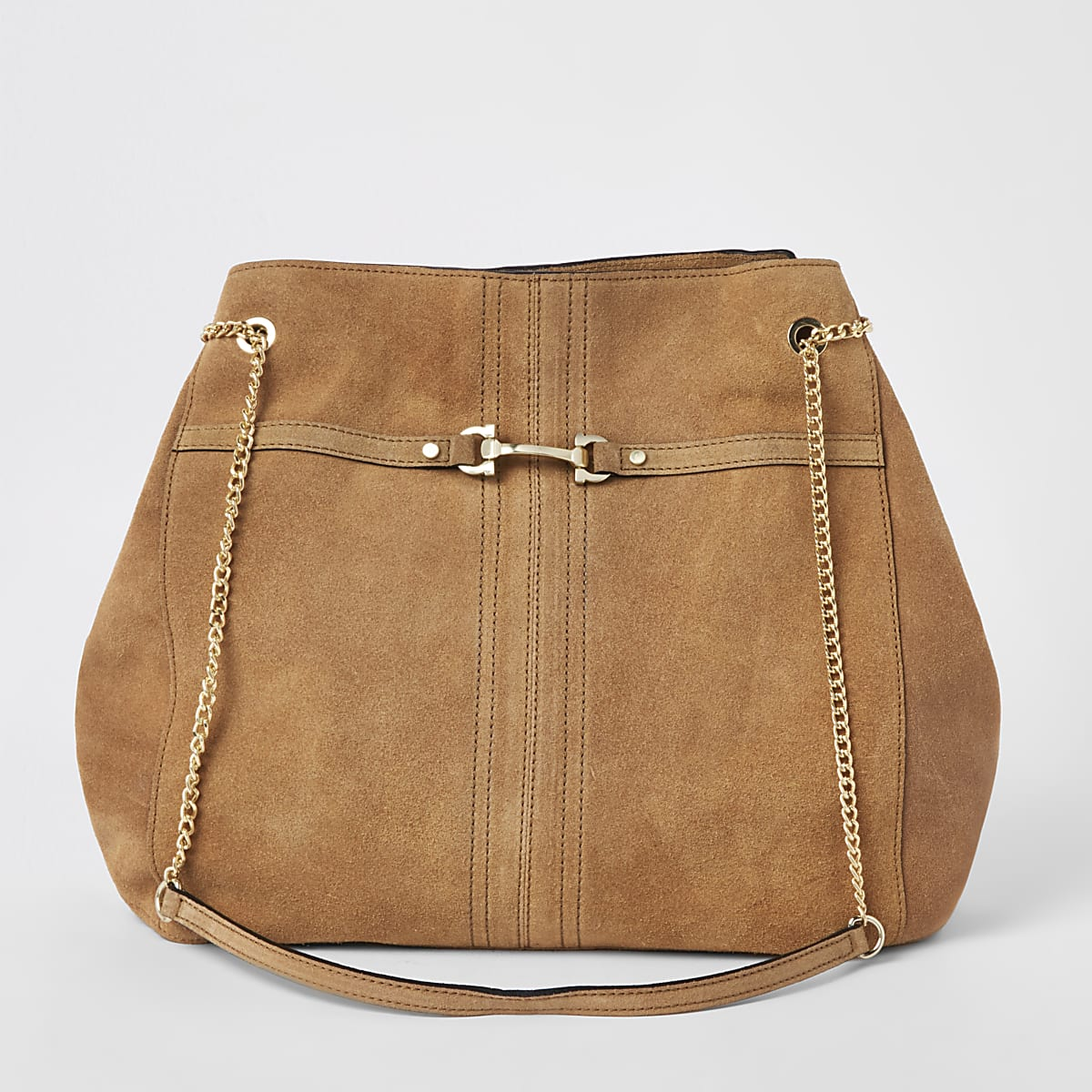 Dark beige suede leather snaffle slouch bag