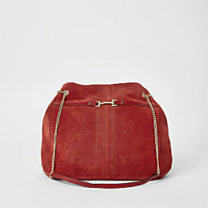 Red suede leather chain slouch bag