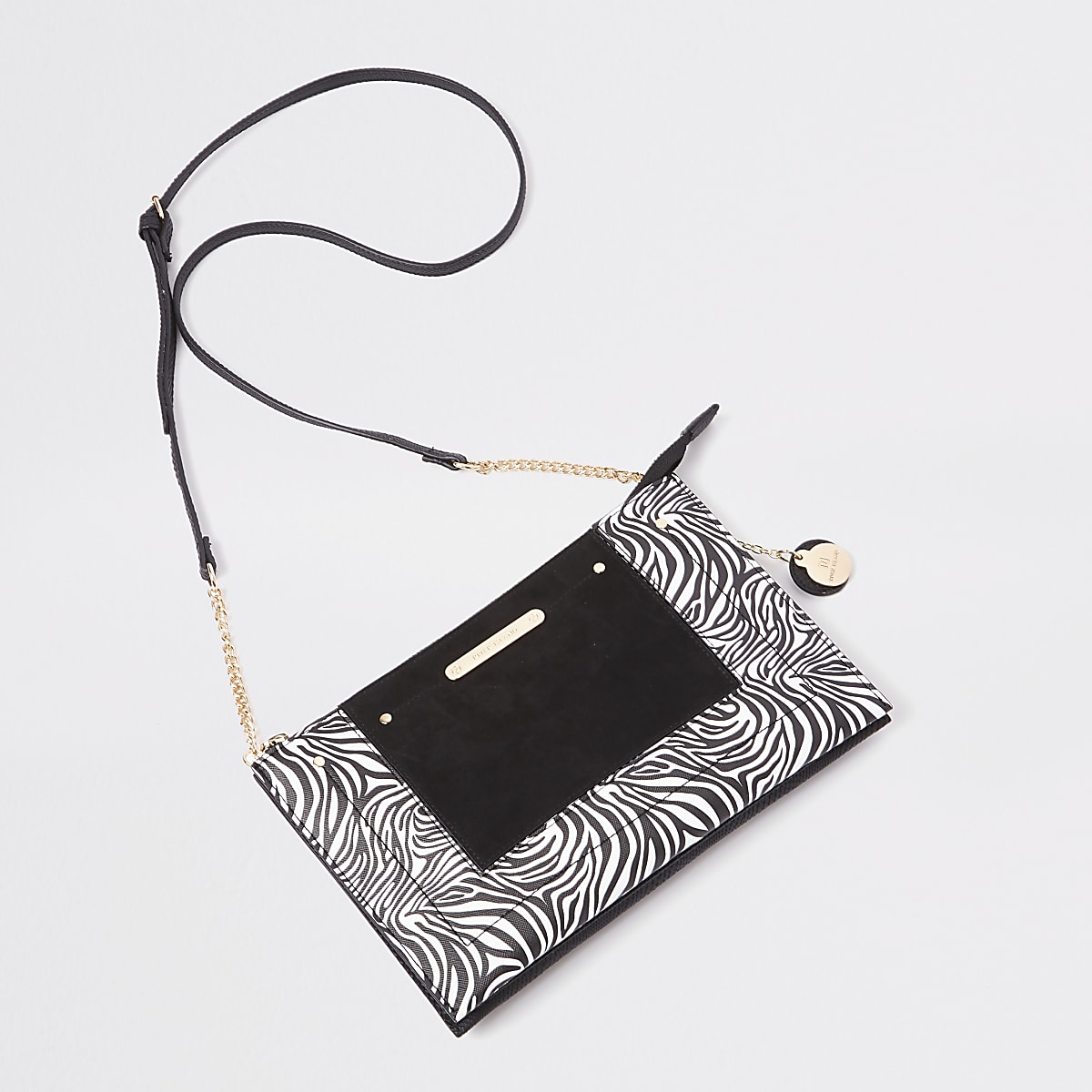 Black zebra print cross body pouch bag