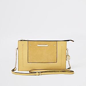 Yellow zip top cross body bag