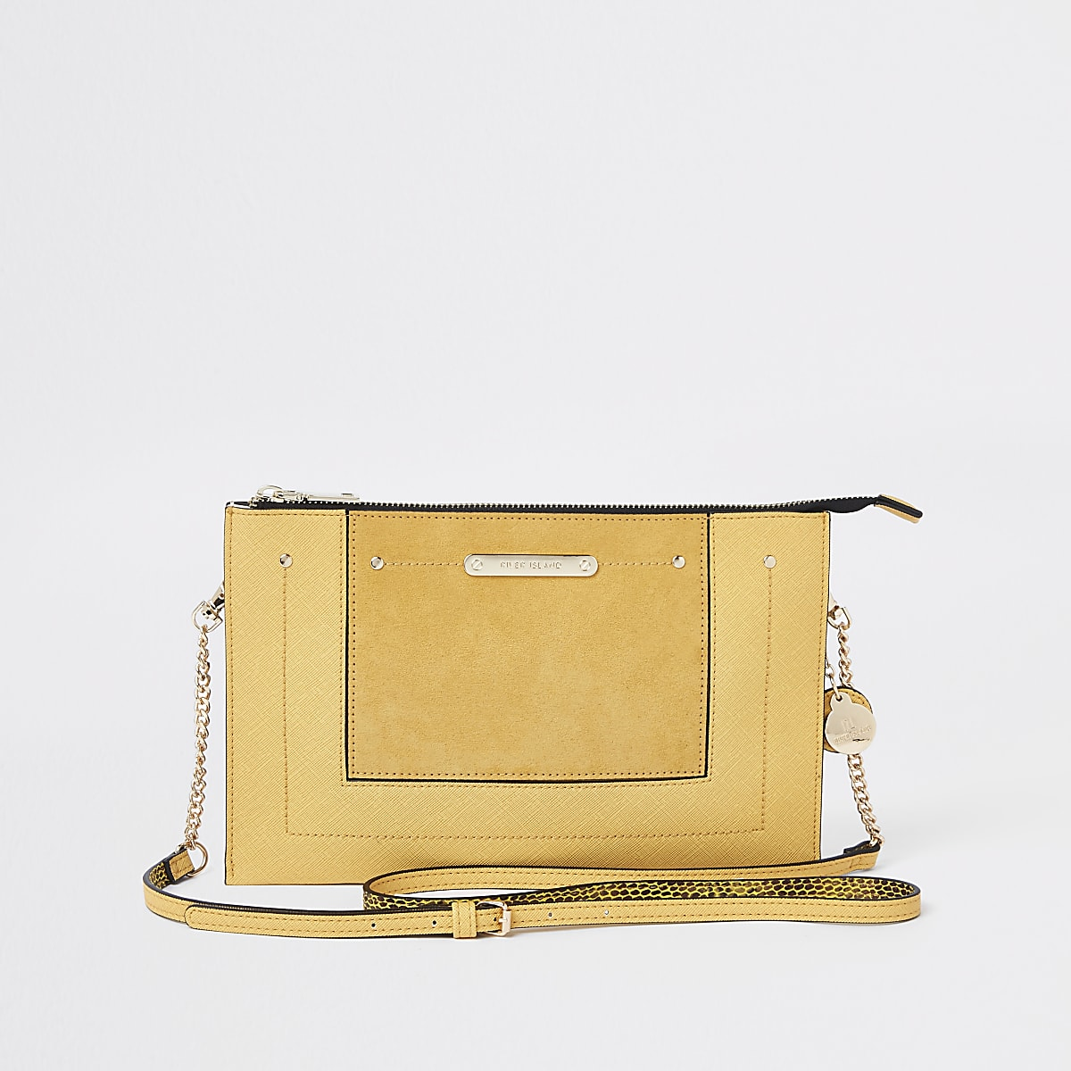 Yellow zip top cross body bag