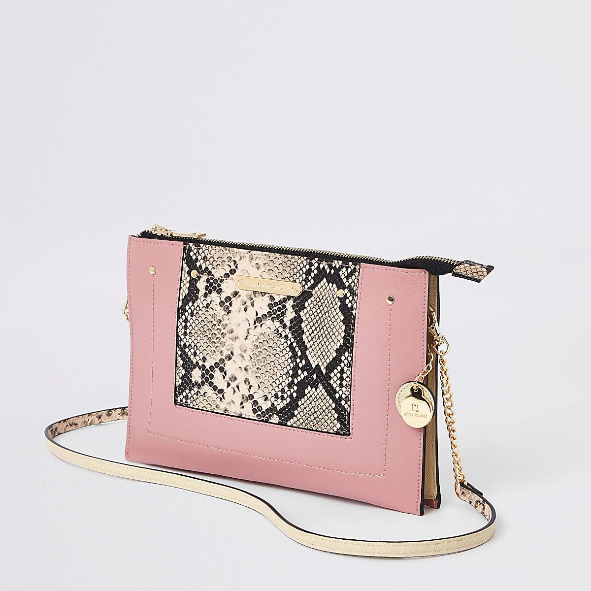Pink snake panel chain cross body bag