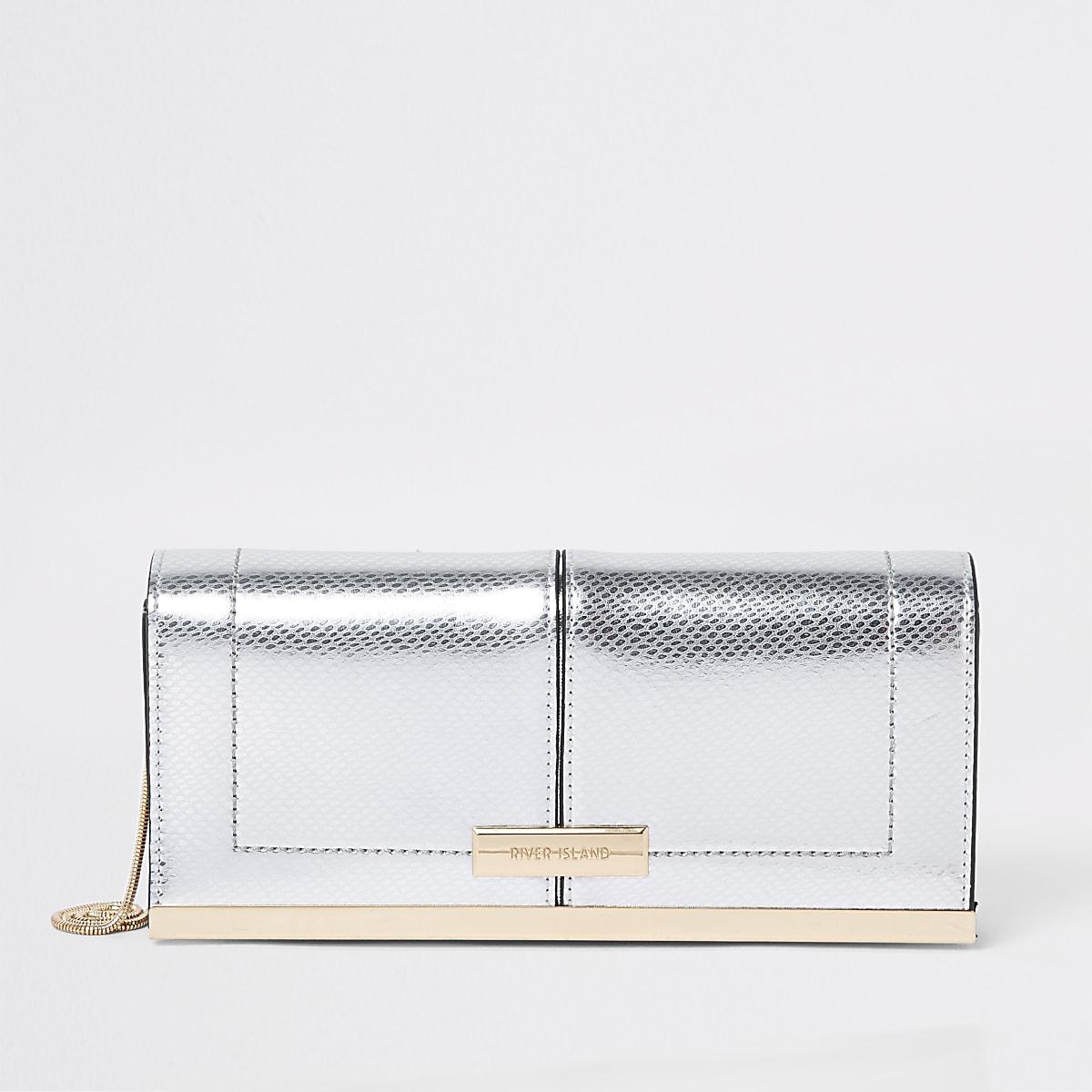 Zilverkleurige baguette-clutch