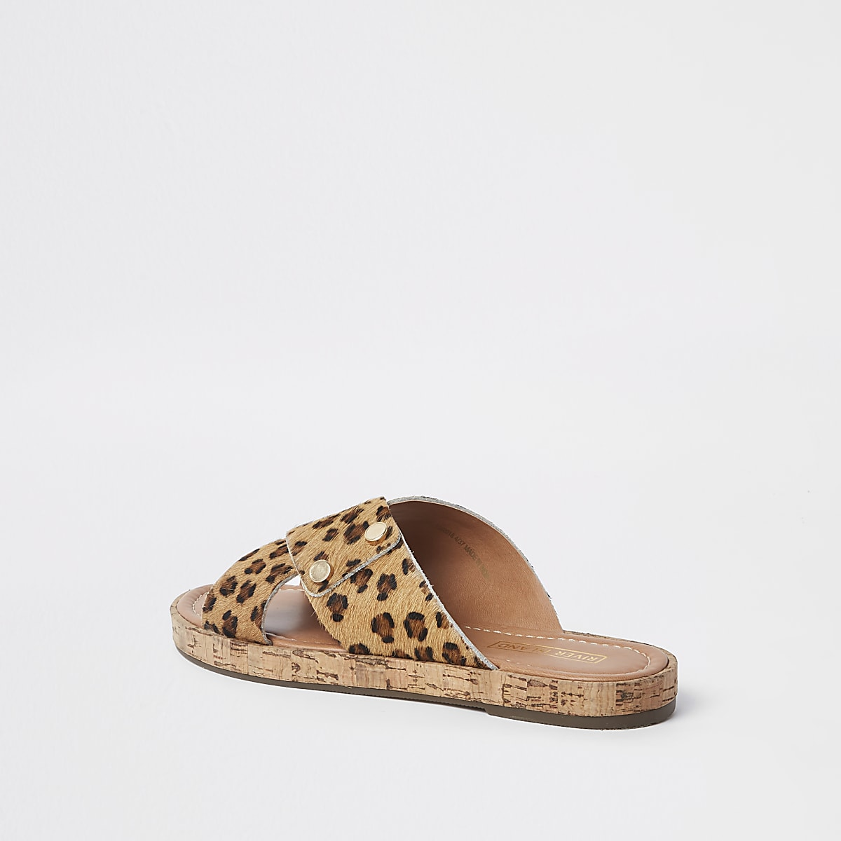 f4ab6924c824 Brown suede leopard cross strap sandals - Sandals - Shoes & Boots - women