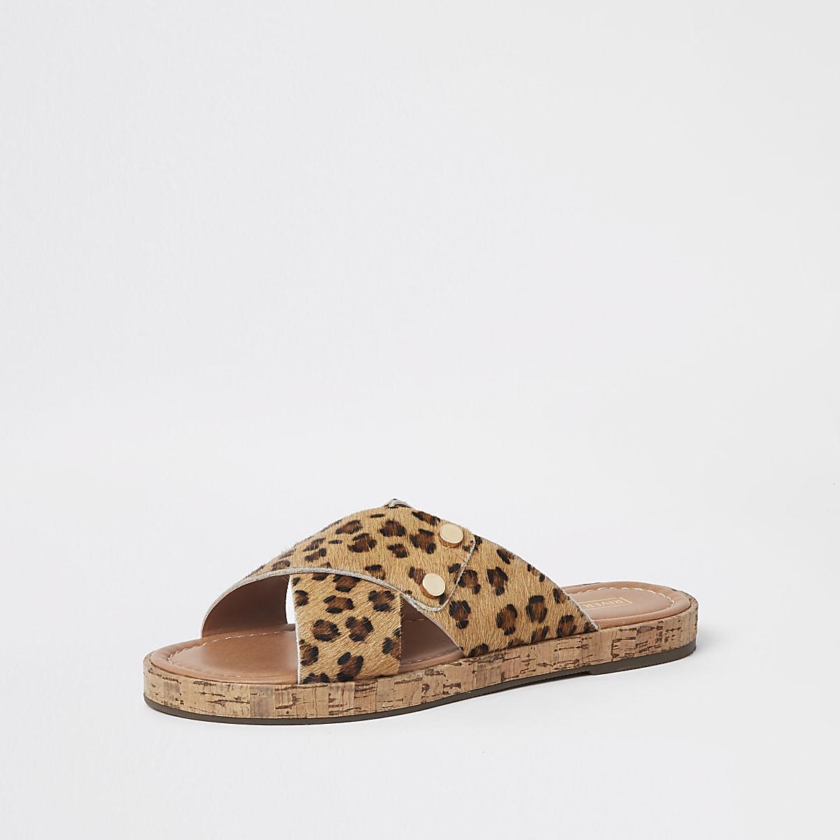 85daaf207ea0 Brown suede leopard cross strap sandals - Sandals - Shoes & Boots ...