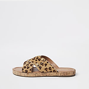 Brown suede leopard cross strap sandals