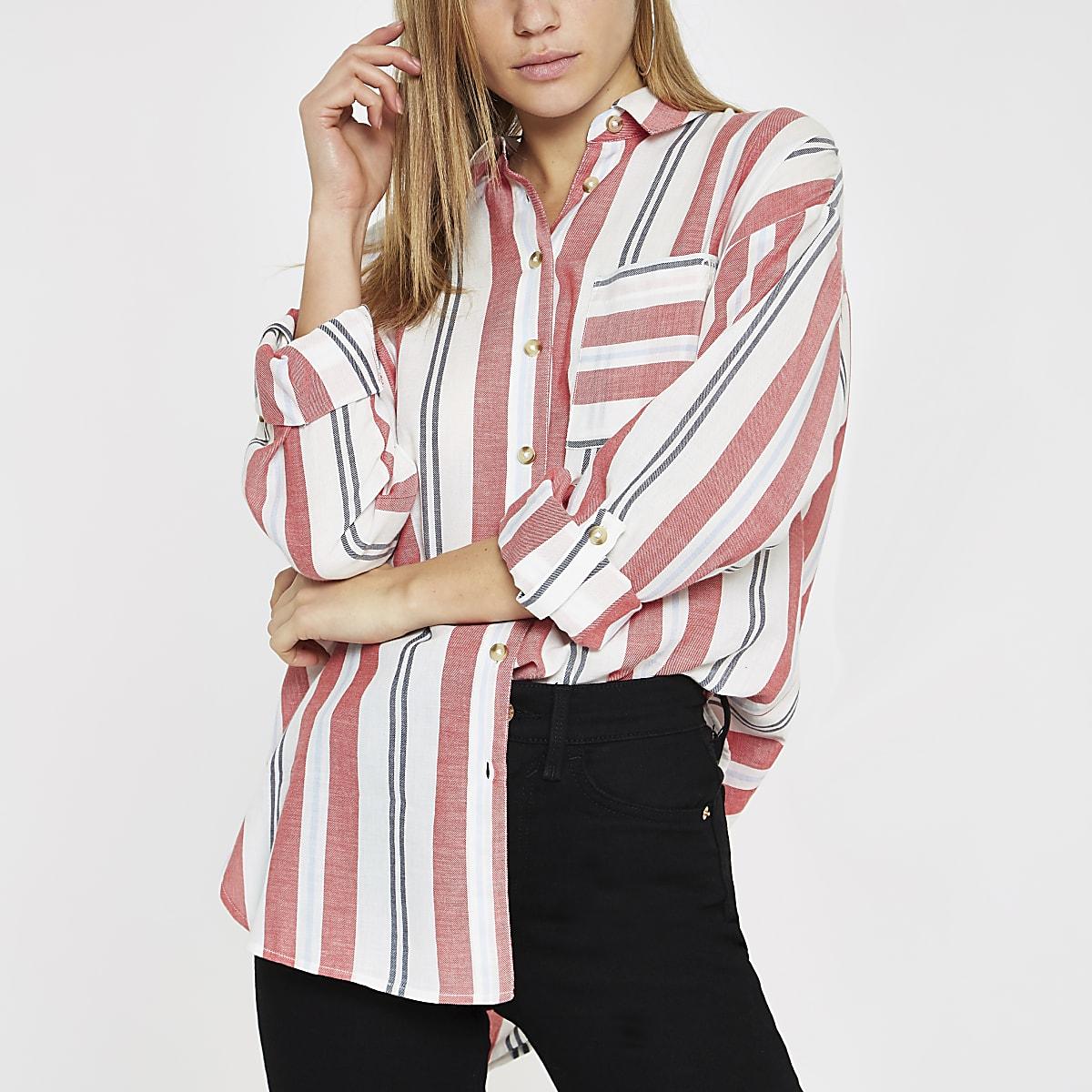 Gestreept Overhemd.Rood Gestreept Overhemd Met Lange Mouwen Overhemden Tops Dames