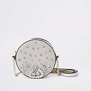 Light grey embellished circle cross body bag