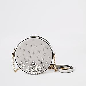 Light grey embellished circle cross body bag