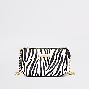 Black zebra print mini chain shoulder bag