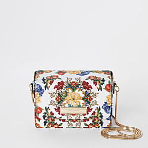 White floral chain mini cross body bag