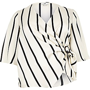 Plus cream stripe tie wrap front blouse