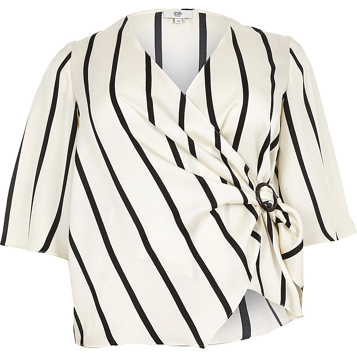 Plus cream stripe tie wrap front blouse