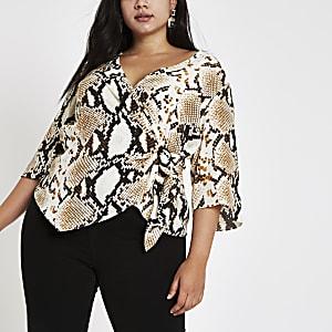 Plus beige snake print wrap buckle blouse
