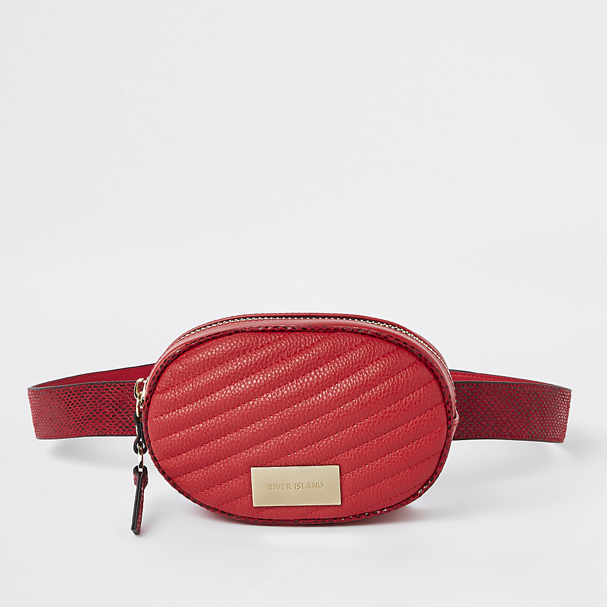 Red quilted circle belt bum bag