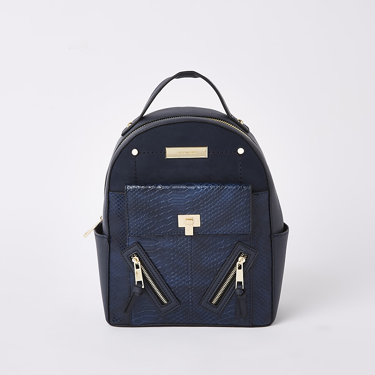 Navy front pocket mini backpack