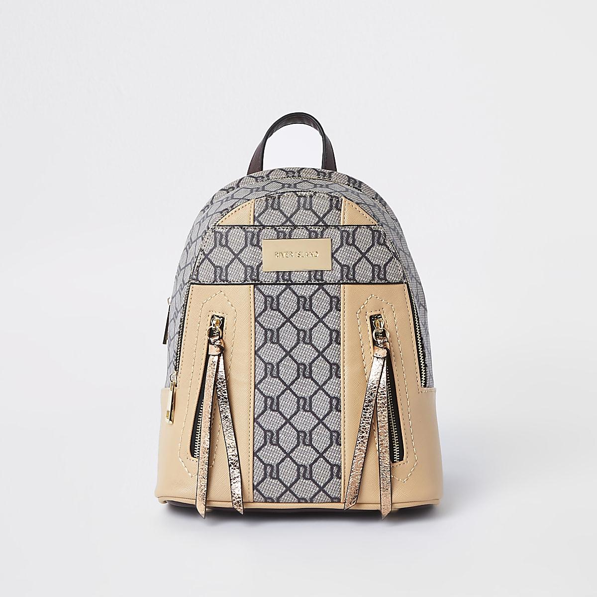 Beige RI monogram mini backpack