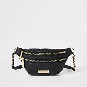 Black quilted double compartment belt bum bag