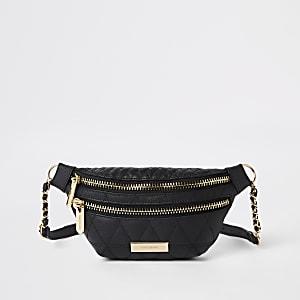 Zwart gewatteerd heuptasje met twee vakken en riem